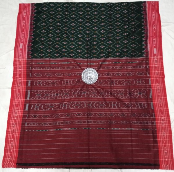 Green and red handwoven ikkat cotton saree