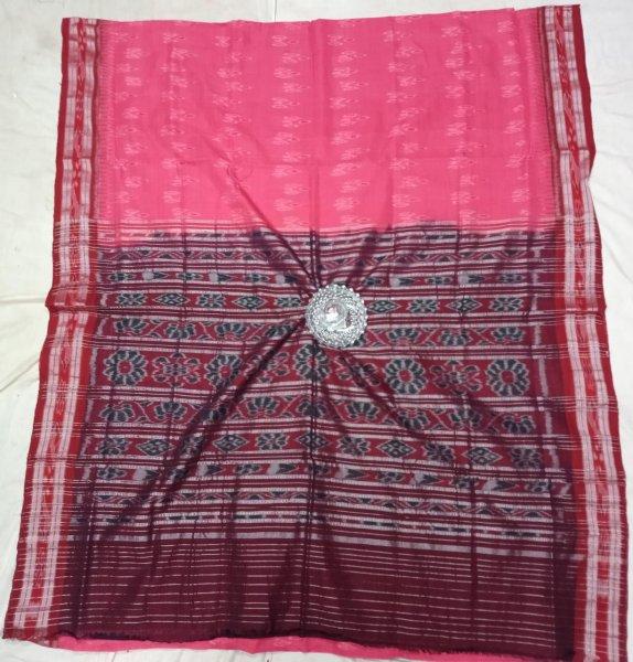 Pink and maroon handwoven ikkat cotton saree