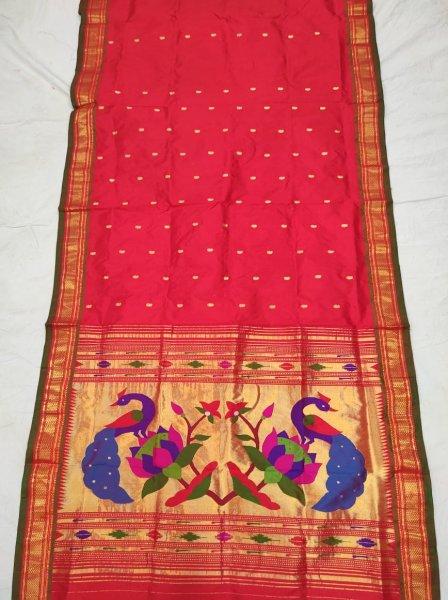 Rani pink fancy pallu handloom paithani silk saree