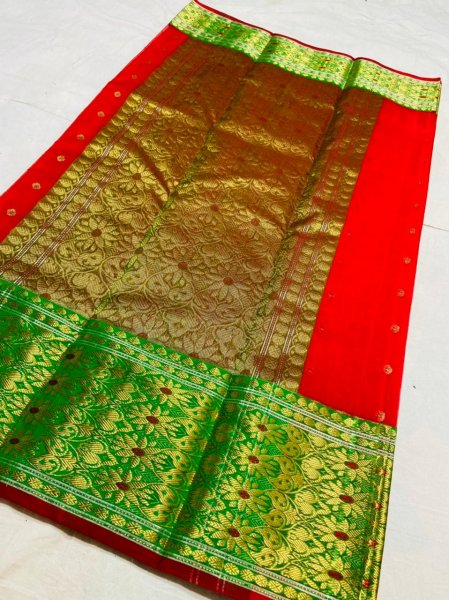 Red and Green pure silk chanderi saree