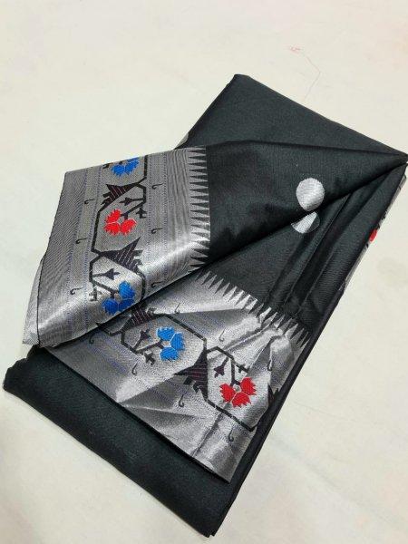 Black and silver brocket sico paithani saree