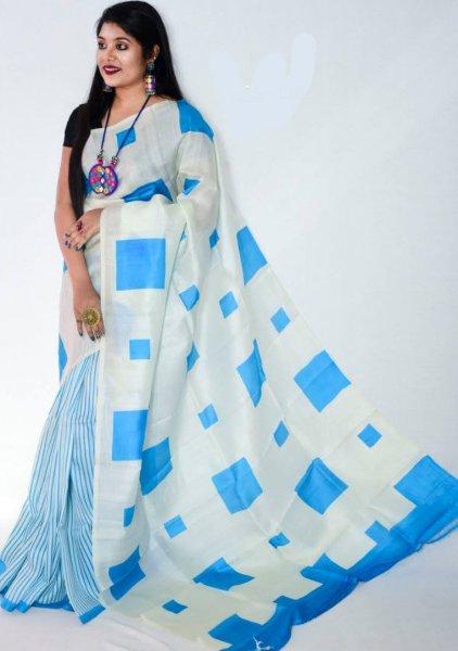 White and Blue traditional Bishnupuri silk saree