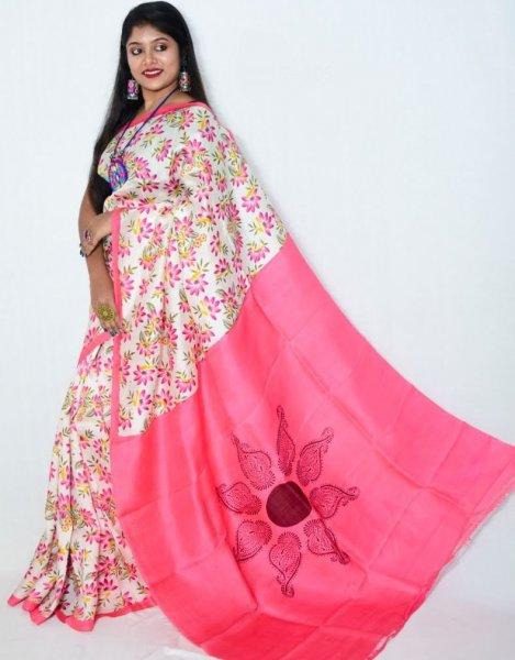 Pink and White floral design Bishnupuri silk saree
