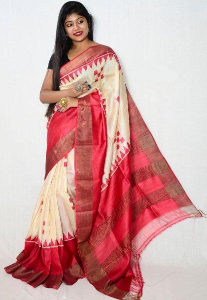 Cream and red zari tussar silk saree