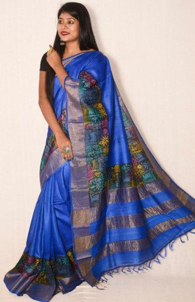 Blue zari border tussar silk saree