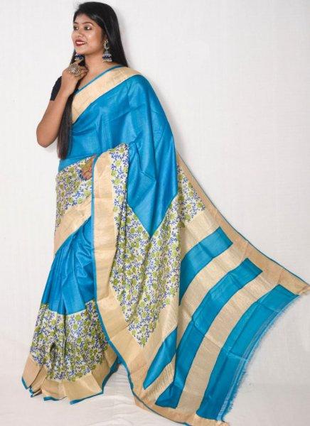 Blue and cream zari tussar silk saree