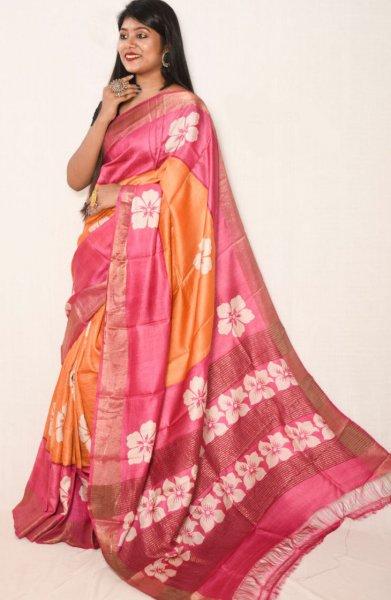 Pink and orange zari tussar silk saree