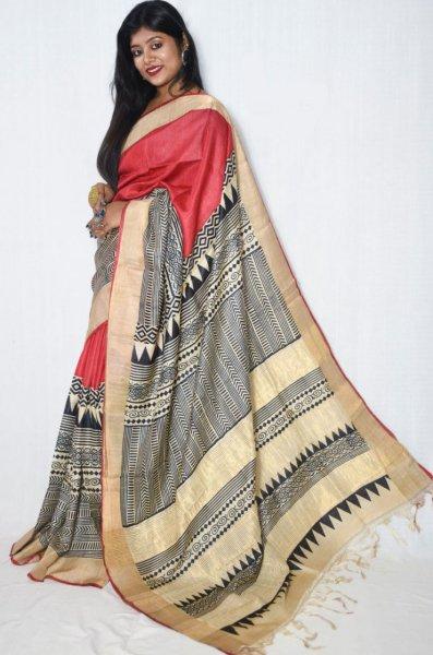 Pink, cream and black zari tussar silk saree