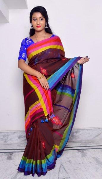 Brown and Multicolored stripes  border khadi cotton saree