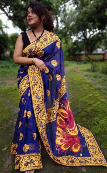 Blue and yellow Mayurpankh dhakai jamdani saree