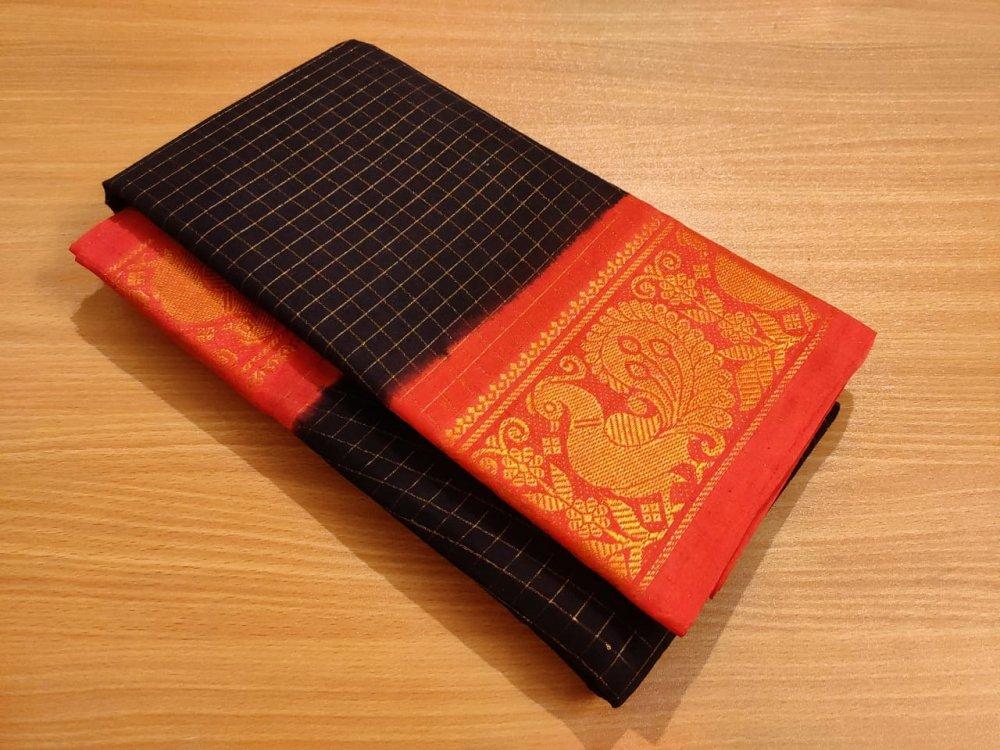 Black and Red Sungudi cotton saree