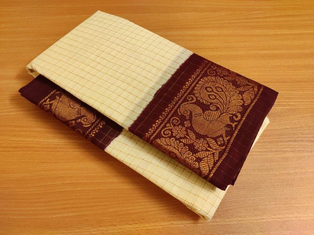 White and Brown Sungudi Cotton saree