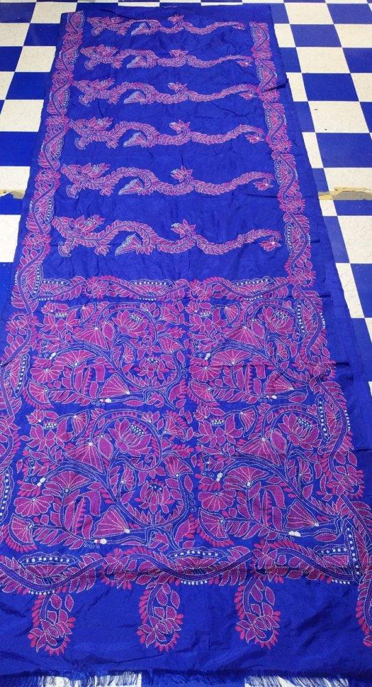 Blue Kantha stitch saree