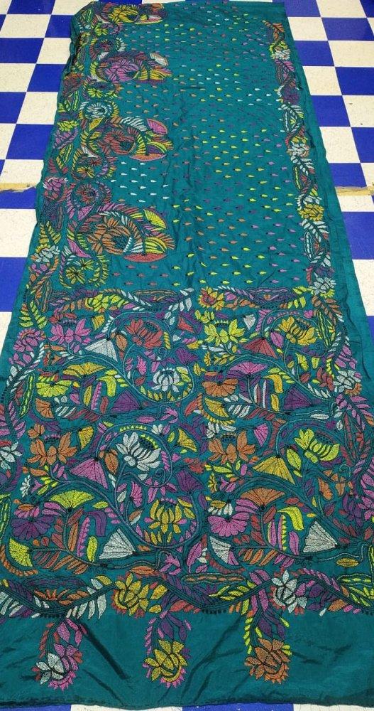 Ocean green Kantha stitch saree