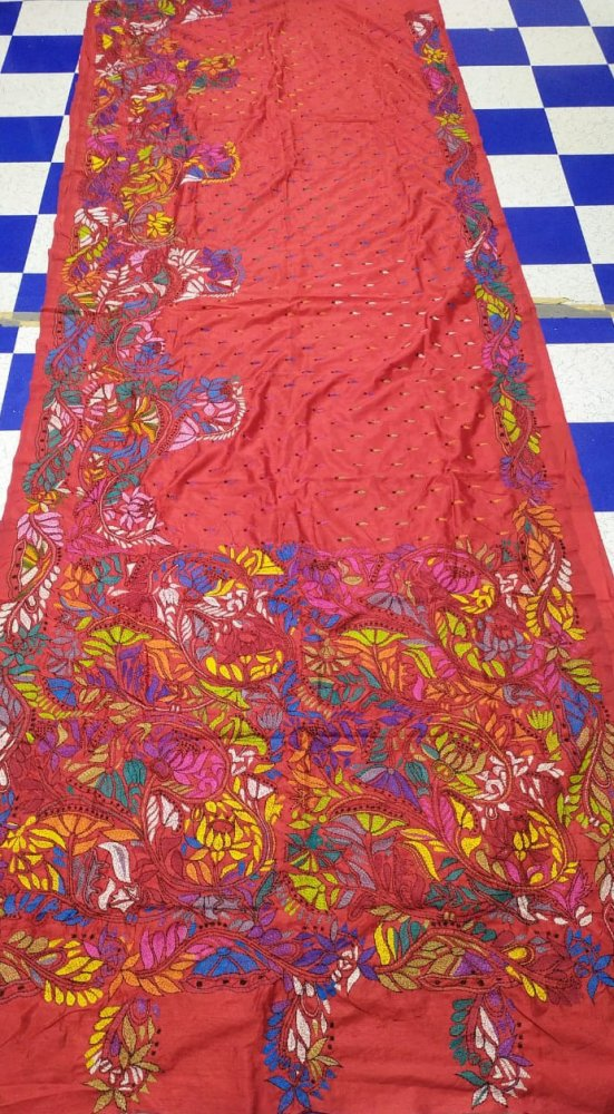 Peach Kantha stitch saree