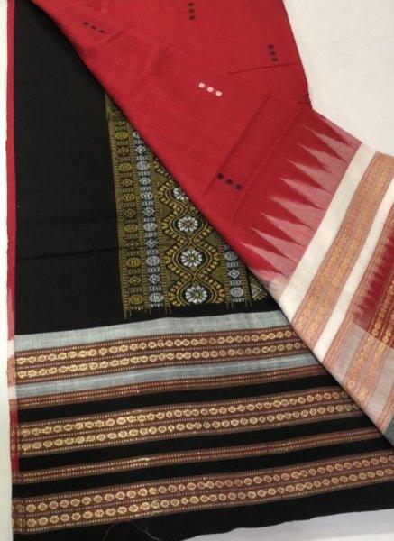 Handwoven  maroon and black Bomkai cotton saree