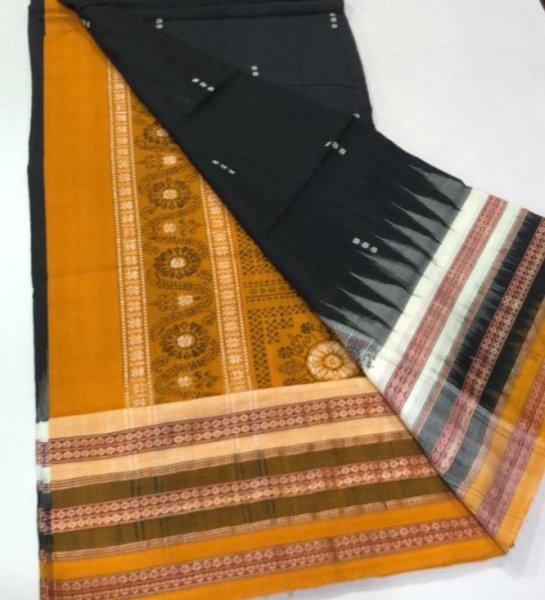 Handwoven black and yellow Bomkai cotton saree