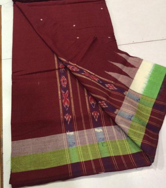 Handwoven maroon Bomkai cotton saree