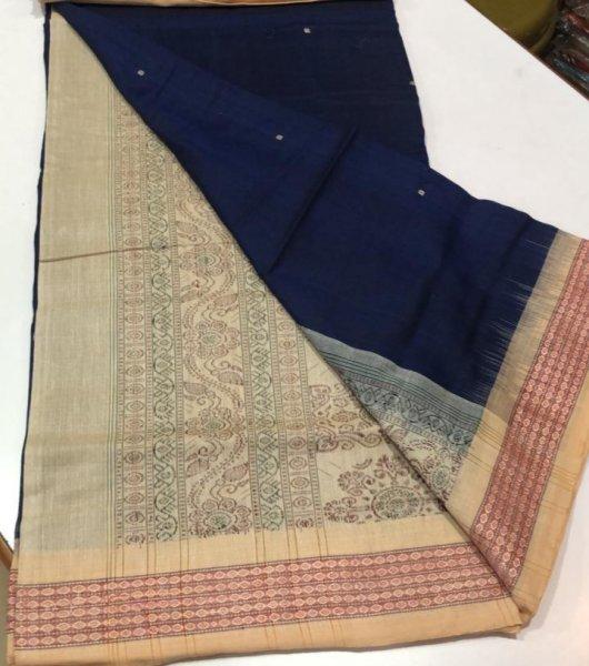 Handwoven blue and cream Bomkai cotton saree