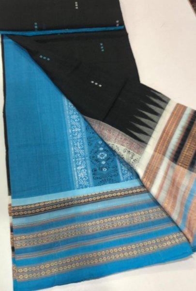 Handwoven sky blue and black Bomkai cotton saree