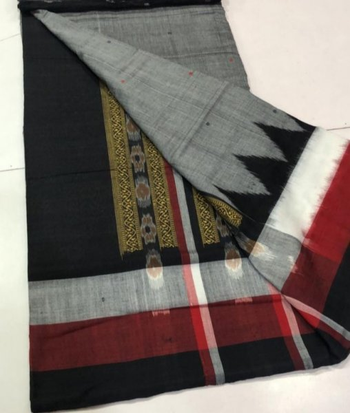 Handwoven black and gray Bomkai cotton saree
