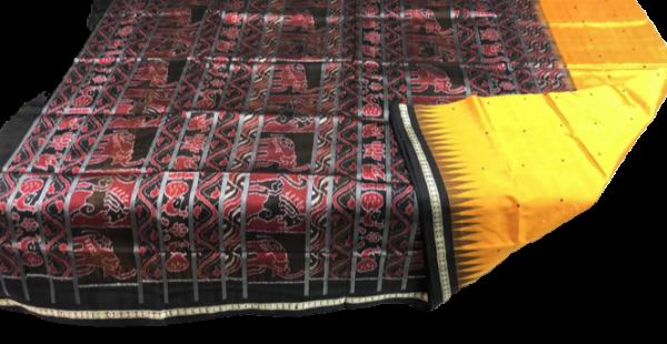 Yellow, black and maroon handwoven bomkai silk saree