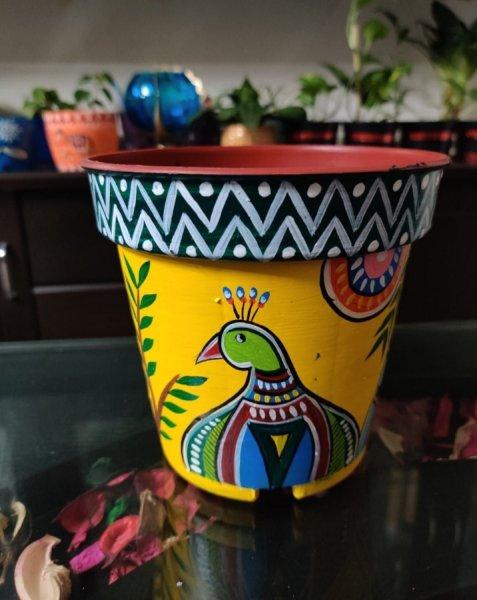Mor Madhubani  art hand painted planter