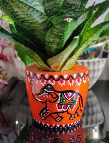 Orange elephant Hand painted planter