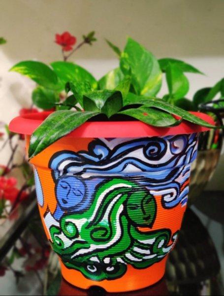 Modern art hand painted planter