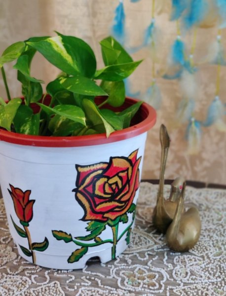 Sign of happiness flower hand painted planter