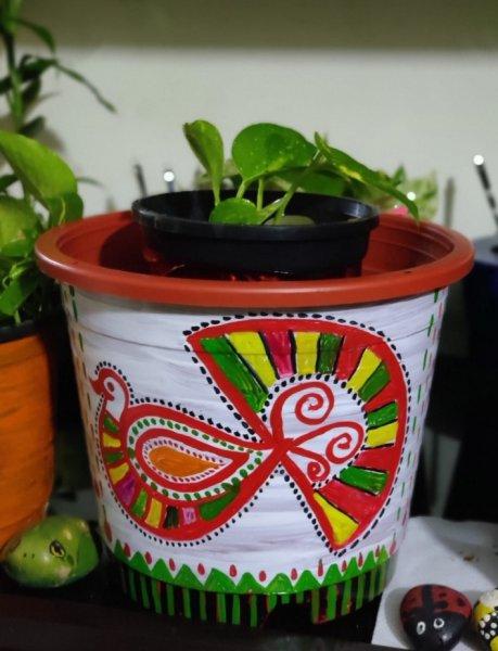 Rajasthan traditional pichwai  art handpainted planter