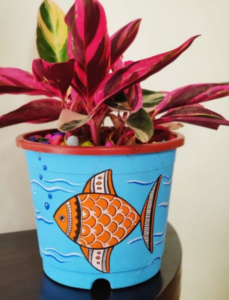 New addition fish hand painted planter