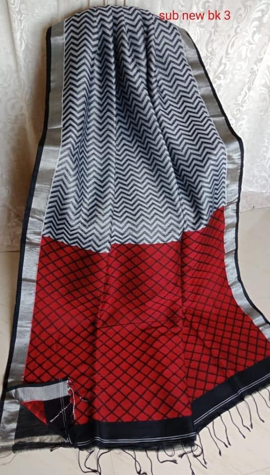Cement Grey & Red With Grey Border Jamdani Linen Saree
