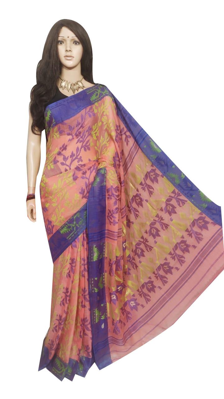 Cream and Deep blue pure cotton full body weaving work jamdani saree