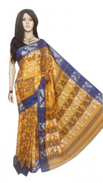Mustard Yellow and Gray pure cotton full body weaving work jamdani saree
