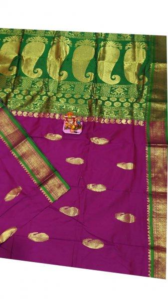 Purple and green designer kalka kanjivaram silk saree