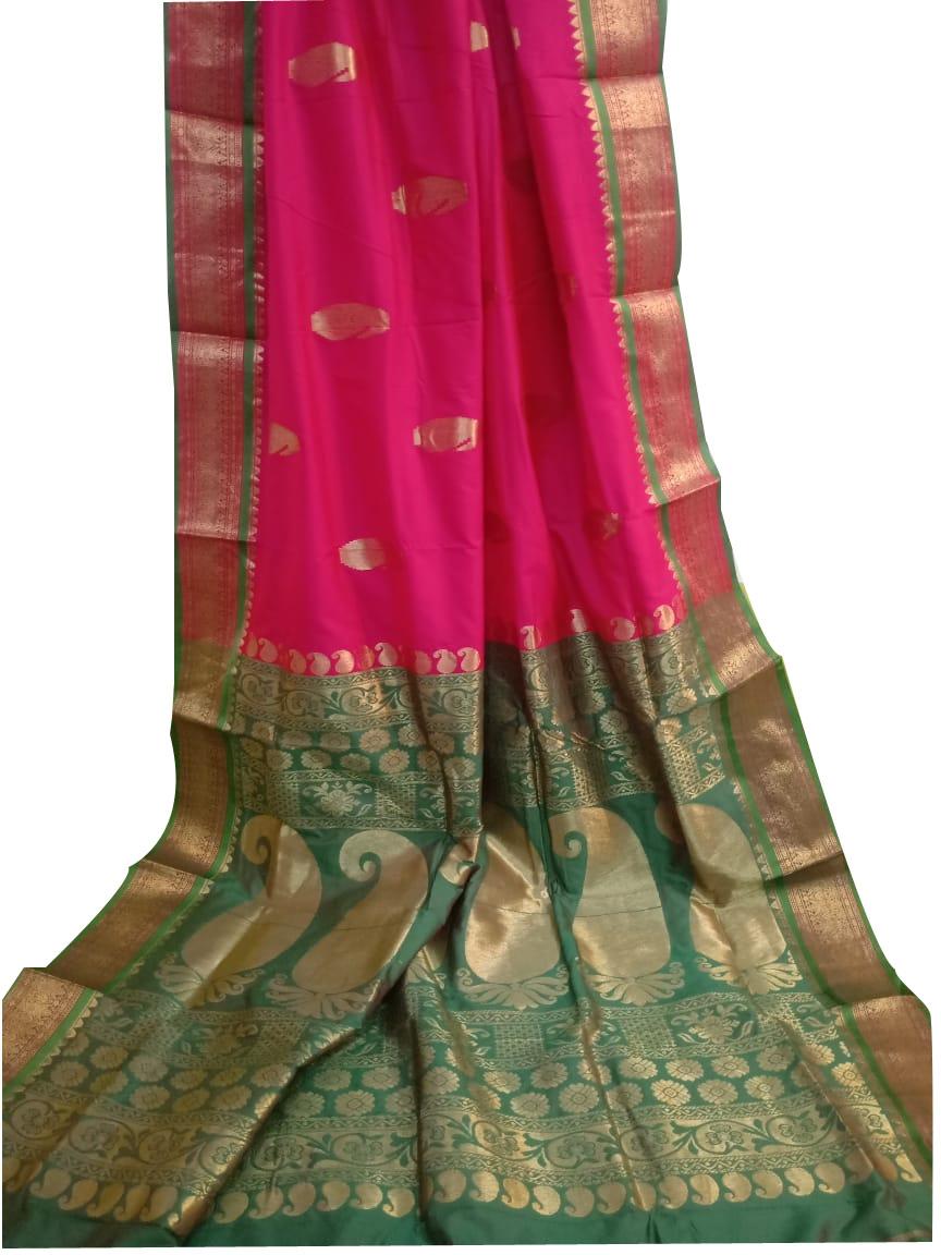 Rose pink and deep green designer kalka kanjivaram silk saree