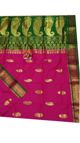 Green and rose pink designer kalka kanjivaram silk saree