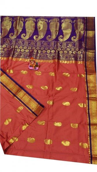 Onion pink and blue designer kalka kanjivaram silk saree