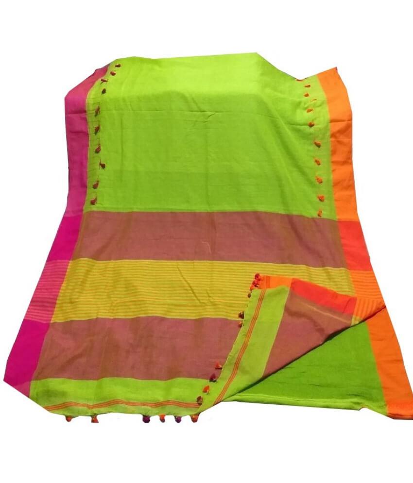 Green Kathi Pum Pum Saree
