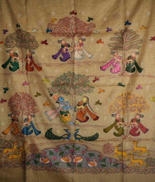 Krishna Leela Patachitra Hand Painted Saree