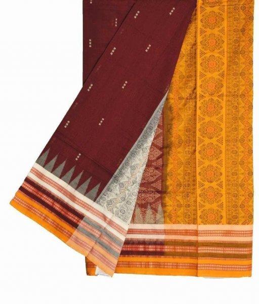 Maroon & Yellow Bomkai Cotton Saree
