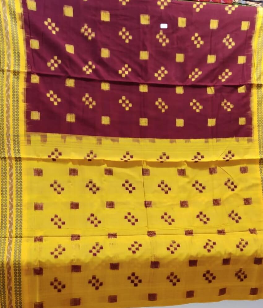 Maroon & Yellow Sambalpuri Saree