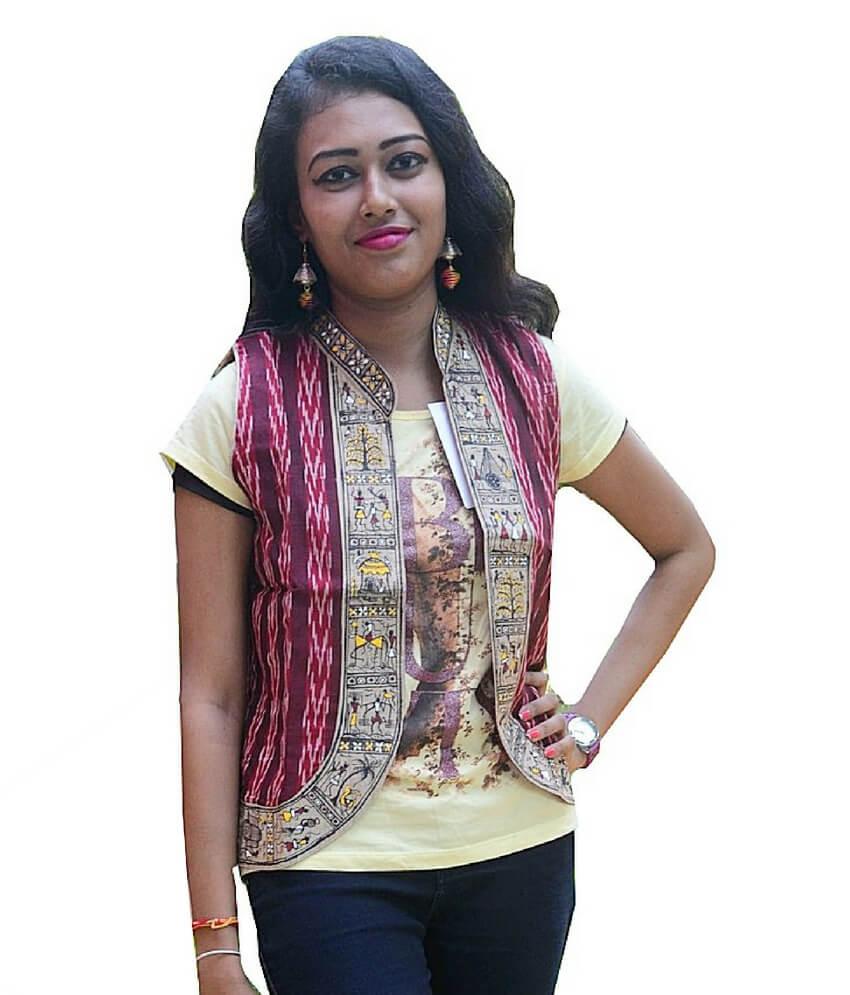 Maroon Ikat Soura hand Painted Waistcoat