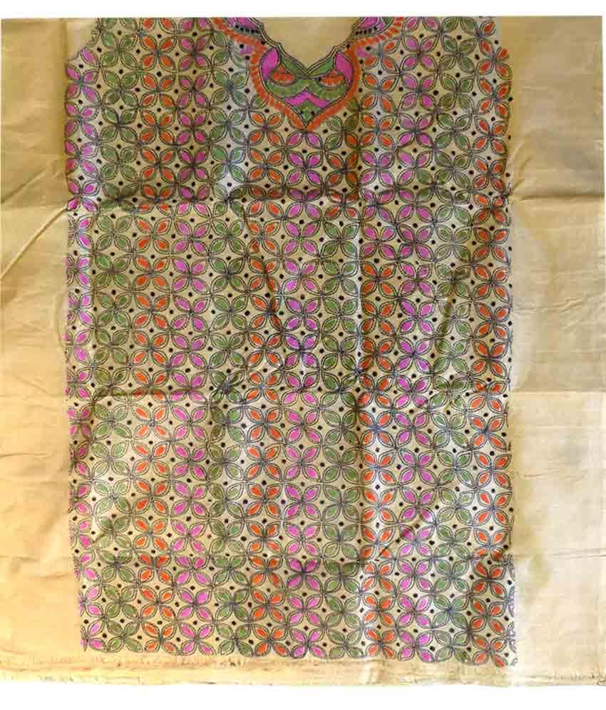 Multicolour Tussar Silk Suit Piece