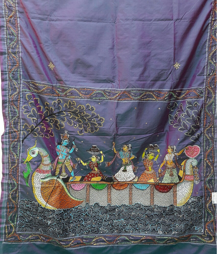 Mythological Pattachitra painting On a Silk Saree