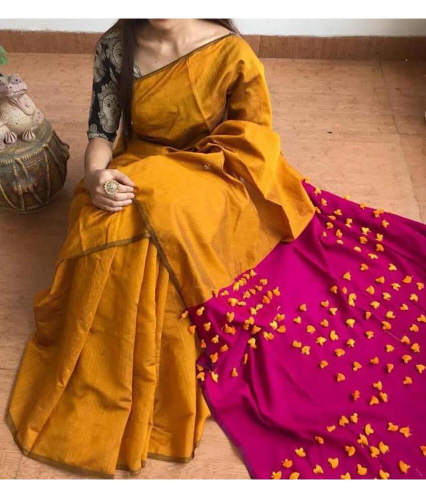 Orange & Pink Pallu Pum Pum Saree