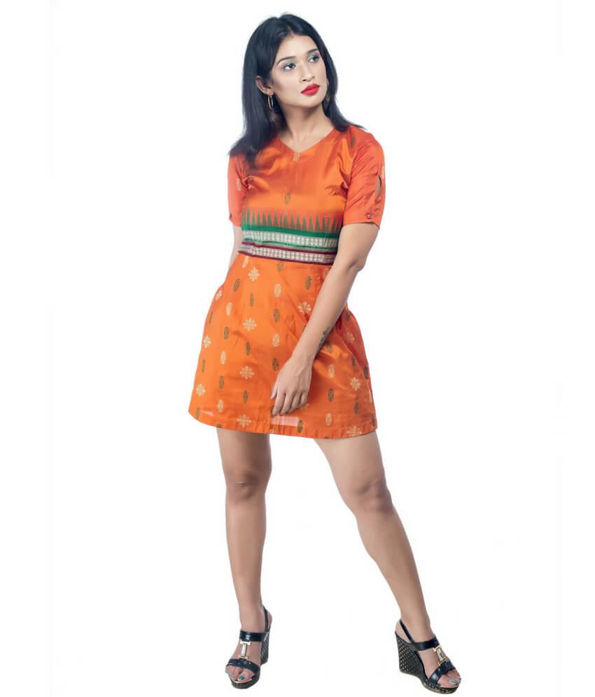 V-Neck Ikat Short Dress