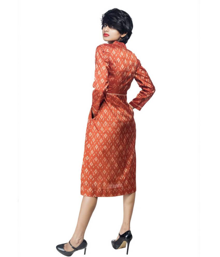 Mid Length Ikat Silk Dress