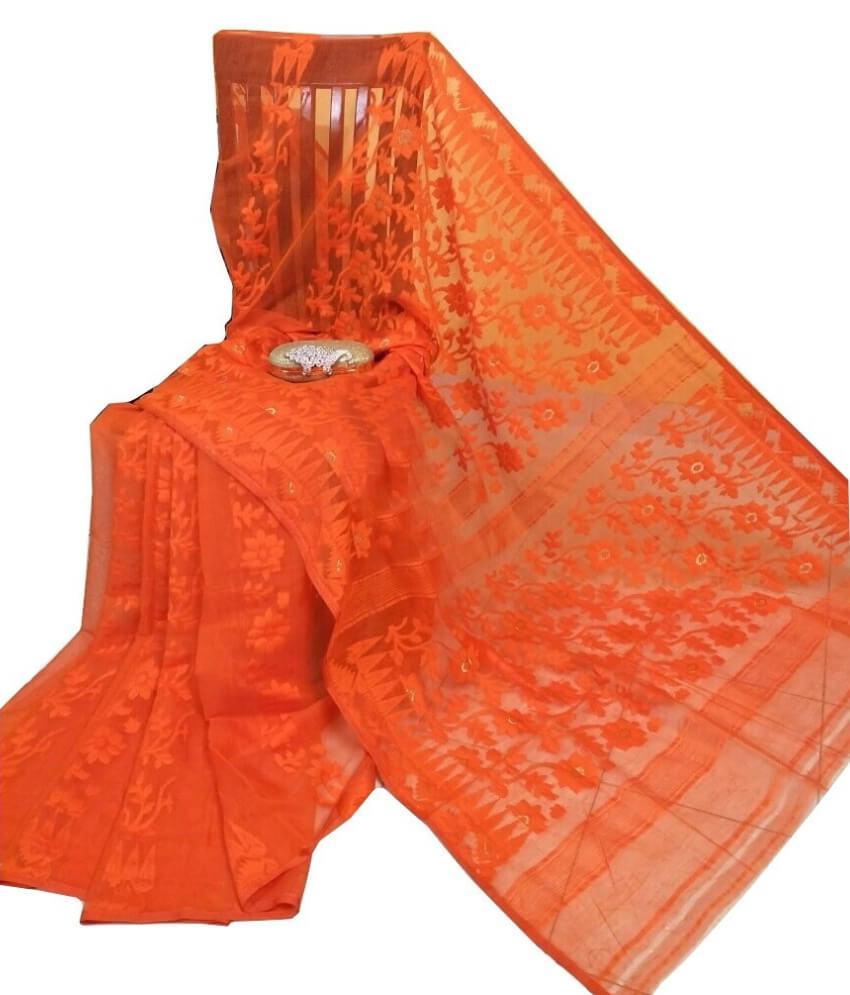 Orange Jamdani Saree